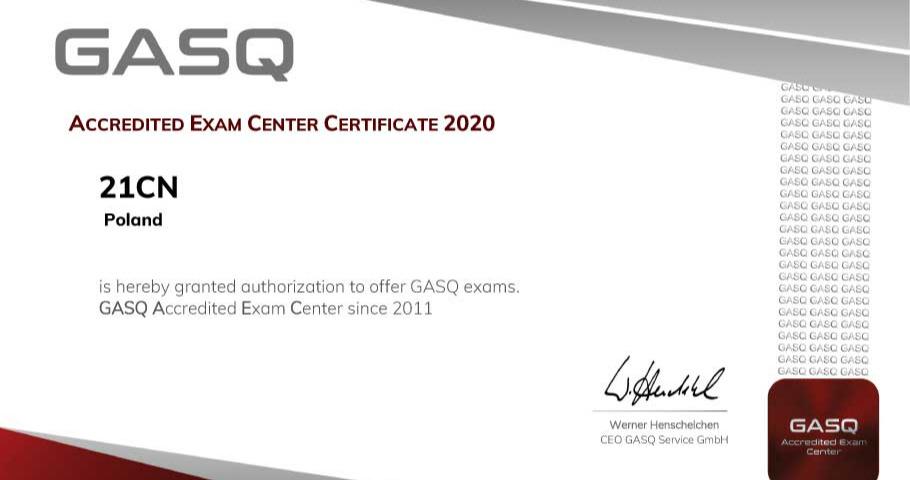 Już od 9 lat jesteśmy akredytowanym Centrum Egzaminacyjnym GASQ.
