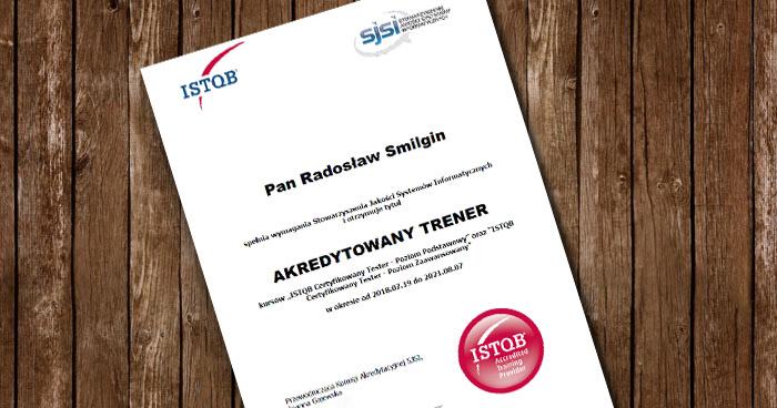 Akredytacja ISTQB dla Radka Smilgin