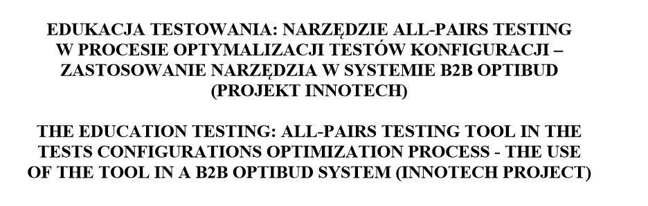 Narzędzie All-Pairs Testing stworzone w testerzy.pl stało się podstawą do badań i publikacji naukowej