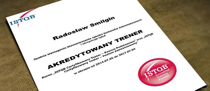 Przedłużenie akredytacji trenerskiej dla Radka Smilgin
