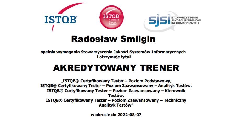 Radek Smilgin z akredytacją trenerską ISTQB® i SJSI